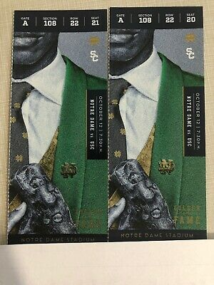 NOTRE DAME Vs USC  2 Tickets Sect 108 Row 22 Together Night Game!