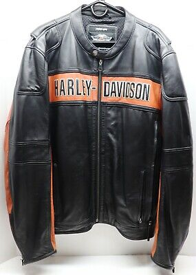 Harley Davidson Mens Black Orange Classic Riding Leather 2XL Jacket 98014-10VM