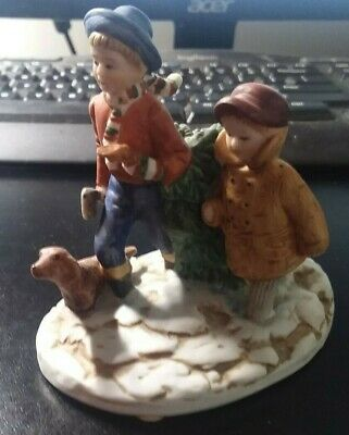 """Norman Rockwell 1984 Porcelain Figurine """"Bringing Home The Christmas Tree"""""""""""