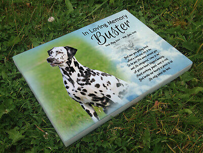 Personalised grave headstone memorial plaque pet dog Dalmatian or any breed