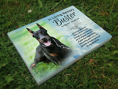 Personalised grave headstone memorial plaque pet dog Doberman or any breed