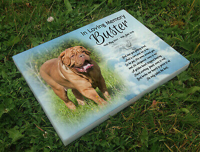 Personalised grave headstone memorial plaque pet dog de bordeaux or any breed