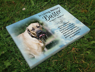 Personalised grave headstone memorial plaque pet dog English Mastiff