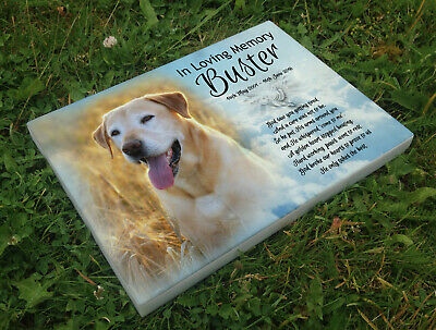 Personalised grave headstone memorial plaque pet dog golden retriever