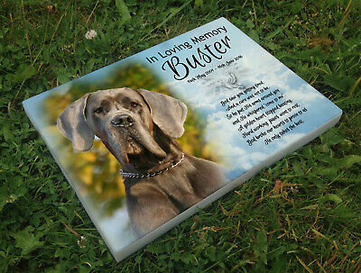 Personalised grave headstone memorial plaque pet dog Great Dane or any breed