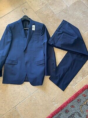 NWT $1445 Z ZEGNA Slim-Fit Drop 7 Solid Navy Blue Wool Suit 40R 50R 34 29 Pants