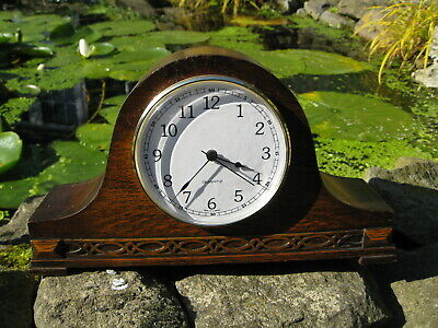 Oak cased  Mantle clock , Napoleon Hat shape, 1930s period , Modern Battery move