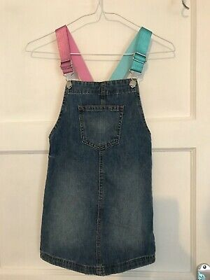 Matalan Girls Denim Dungaree Dress With Sparkle Shoulder Straps-Age 7 Years