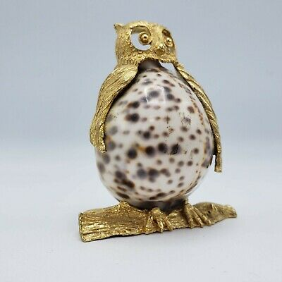 "Whimsical Owl Shaped Figure with Shell Center ~ 4"" Tall"