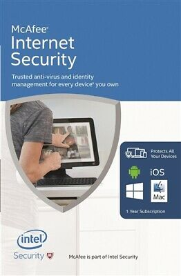 McAfee Internet Security 2020 10 Multi Devices PCs 1 Year Delivery by Email Only