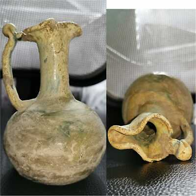 13 cm authentic and ancient fine handled ROMAN Glass Bottle 3th Century AD