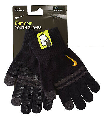 Nike Gloves Boys Youth Knitted Tech and Grip Black & Grey Phone Use Brand New