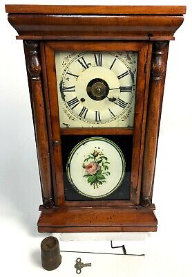 Antique Seth Thomas Rose Floral Ogee Connecticut Wood Wall Clock FOR REPAIR