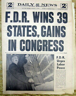 1940 NY Daily News hdlne newspaper FRANKLIN D ROOSEVELT RE-ELECTED US PRESIDENT