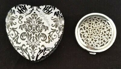 Brighton Serendipity Silver Tone Compact Mirror Dual Sided with Heart Tin Set