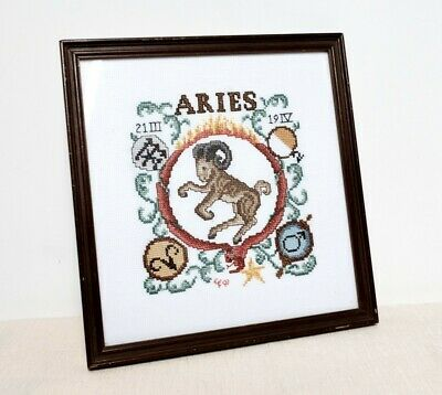 Vintage Framed Needlepoint of the Zodiac Sign Ariesconstellation Hand made art