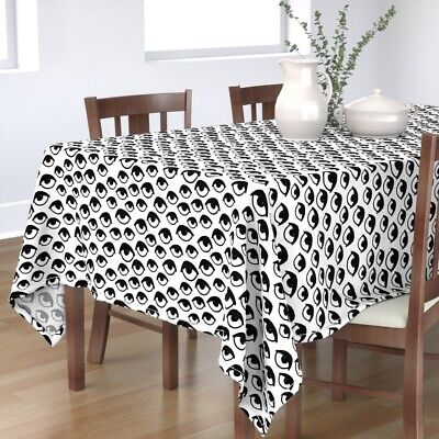 Tablecloth Eye Anatomy Black And White Eyes Spooky Halloween Scary Cotton Sateen