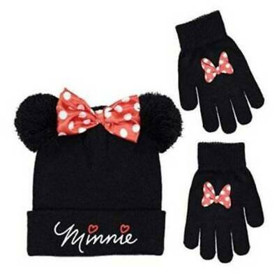 NEW Youth Girls Disney Minnie Mouse Black Knit Winter Hat and Gloves Set-sz OS