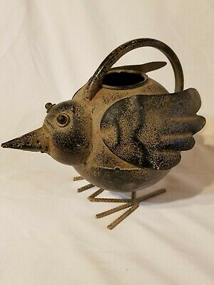 metal chicken bird shaped water can with handle decoration lawn country wings