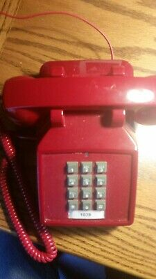 VINTAGE STYLE Cetis Red Telephone Push Button Touch Tone Desk Phone Two Lines
