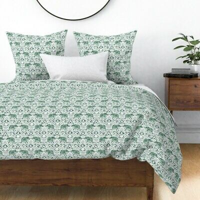 Elephant Damask Paisley Watercolor Boho Indian Sateen Duvet Cover by Roostery