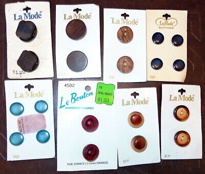 Vintage Mixed Lot Buttons On Cards France Italy Portugal Shank Blue Brown Shell