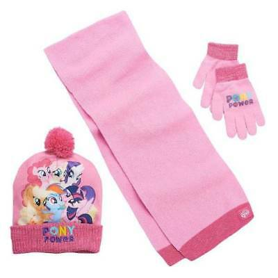 NEW Girls My Little Pony Pink Winter Knit Hat, Scarf and Gloves Set-sz 4-16