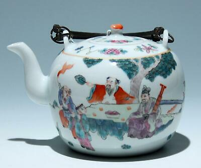 Good Chinese Teapot with Garden Scene - (Guangxu Mark 1875-1908)