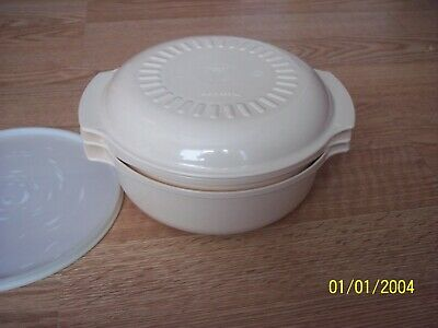 Piece Tupperware Almond Microwave Stack Cooker  Steamer / Strainer  Lid