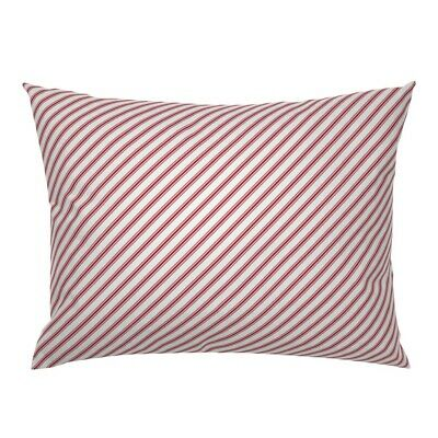 Stripes Christmas Candy Canes Red Candy Stripes Diagonal Pillow Sham by Roostery