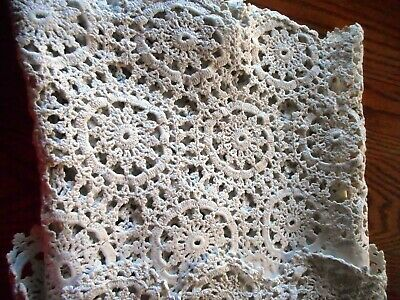 VINTAGE TABLECLOTH Rectangle White Crochet Trim - Heavy BEAUTIFUL~ Cleaned