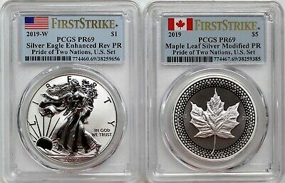 2019 Pride of Two Nations Set Silver Eagle & Maple Leaf PCGS PR69 First Strike