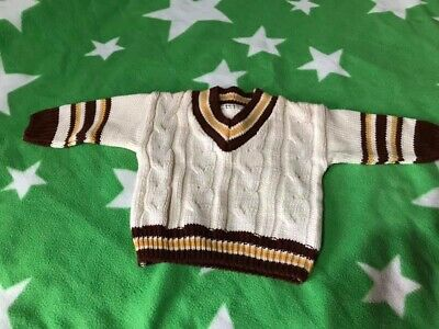 ** Mothercare - 0-3 Months - CRICKET Style JUMPER -  Cream & Brown **