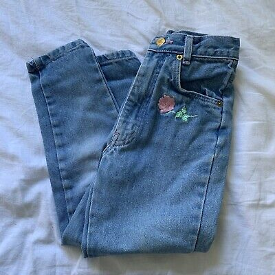 Vintage Girls High Waisted Floral Embroidered Jeans