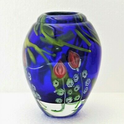Vintage Art Glass Vase Thick Heavy Hand Blown Cobalt Blue Murano Style