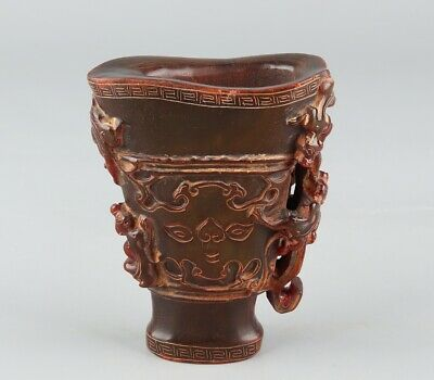 Chinese Exquisite Hand-carved beast Carving OX Horn cup