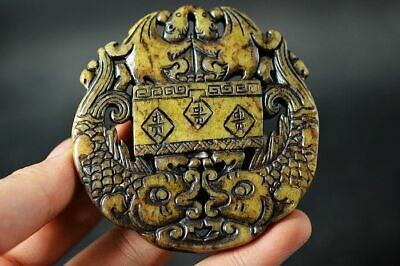 Exquisite Chinese Old Jade Carved Two-Sided *Double Fishes* Lucky Pendant  J82