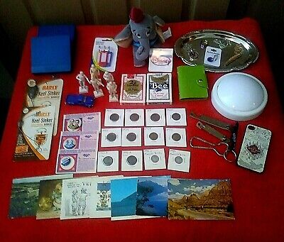VNTG Junk Drawer Jewelry, Coins, Playing Cards, Disney, Deco Tray, misc Lot#102