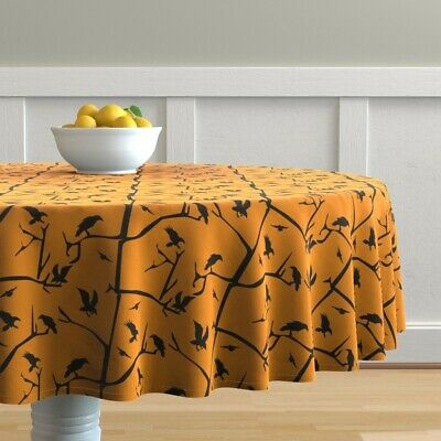 Round Tablecloth Ravens Crows Eerie Scary Orange And Black Trees Cotton Sateen