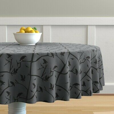 Round Tablecloth Halloween Scary Ravens Crows Grey And Black Trees Cotton Sateen