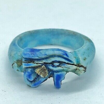 Ancient Egyprian Style Eye Of Horus Faience Clay Ring Antique North Africa Old