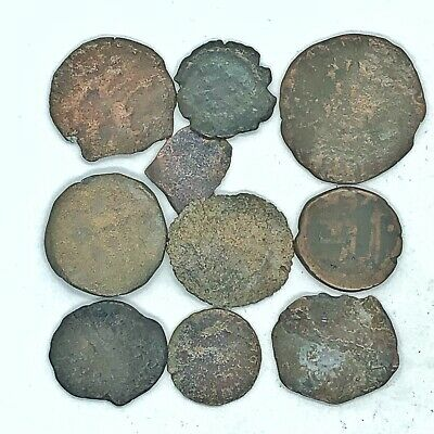 10 Authentic Ancient Roman Coins Artifacts Unidentified Uncleaned Lot Copper Old