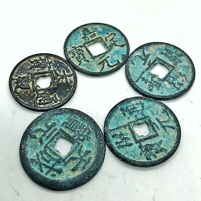5 Old Antique Ancient Style Chinese Brass Coins Bronze Asian Pendant Token Medal