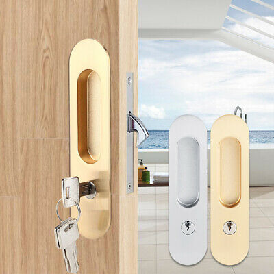 Sliding Door Lock Handle Anti-theft with Keys Barn Wood Furniture Double CA