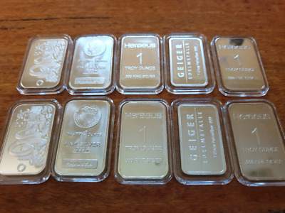10 x 1oz Siver Bars 999.0 fine in airtight Lighthouse capsules - different mints