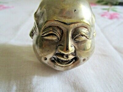 Rare Chinese Tibet Brass 4 Faces Buddha Head Ornament Hallmarked