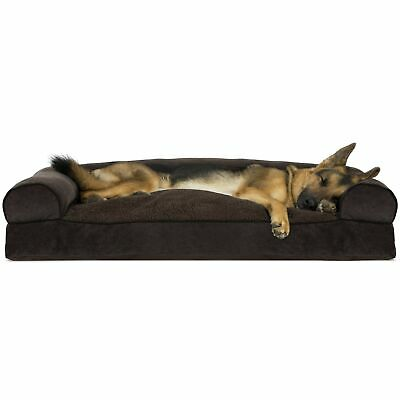Furhaven Pet Dog Bed | Faux Fleece & Chenille Soft Woven Pillow Cushion Tradi...