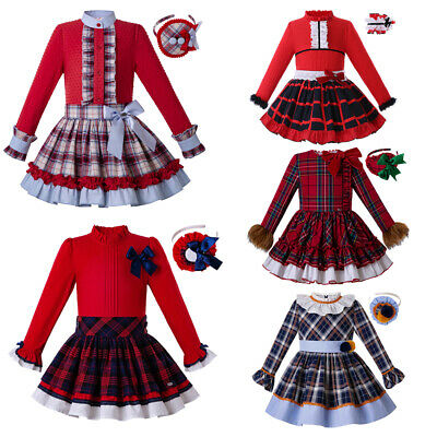 Spanish Girls Frilly Bow Outfits Christmas Clothes Set Autumn Red Age 3-12Y