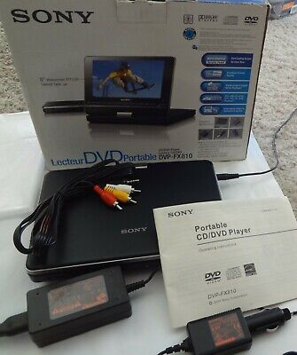 """Sony Dvp-Fx810 8"""" Portable Dvd/Cd Player W/ Ac & Vehicle Adapter."""