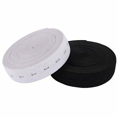 20M Flat Elastic Cord 25mm Wide Band Button Hole Ribbon Sewing Dress Black White